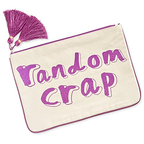 "Madden Girl 14×10-in ""Random Crap"" Large Canvas Glitter Pouch"