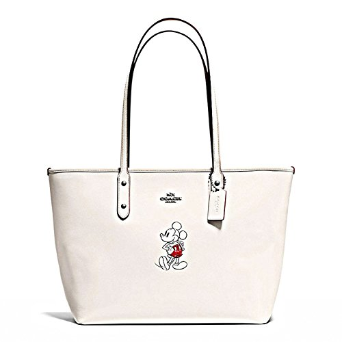 COACH Tote Handbag Bag Leather With Mickey Disney