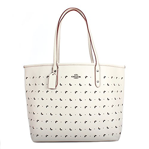 Coach F59345 City Tote In Perforated Crossgrain Leather Chalk