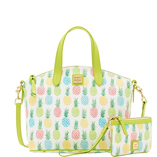 Dooney & Bourke Tiki Pineapple Satchel w/ Med Wristlet 2 pc set