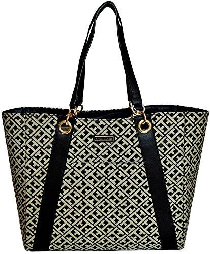 Tommy Hilfiger Canvas And Saffiano Leather Top Handle tote Handbag