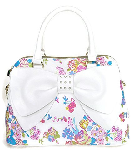 Betsey Johnson Women's Dome Pearl Of A Girl Floral White Bow Satchel