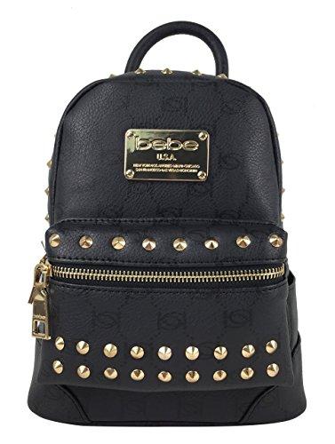 Bebe Womens Jett Monogram Stud Faux Leather Mini Backpack Black Handbag Tote