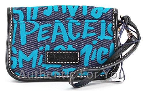 Disney Dooney & Bourke Blue Denim Wristlet – Mickey Minnie Peace Love Laugh Smile