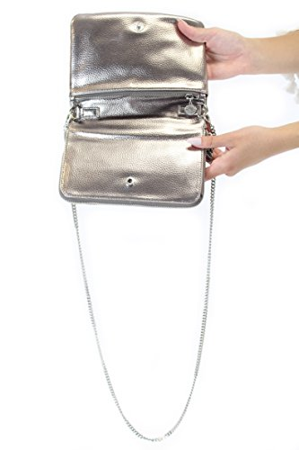 BCBGeneration Metallic Faux-Leather Cross Body, Pewter
