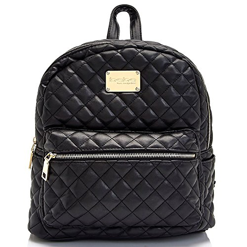 Bebe Womens Large Maria Quilted Faux Leather Backpack Black Handbag Tote