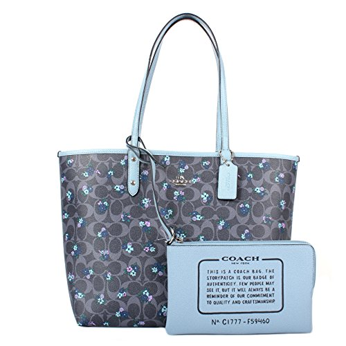 Coach F59460 Signature C Ranch Floral Reversible City Tote Denim Cornflower