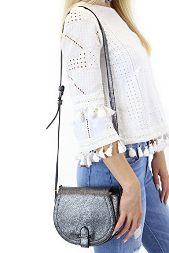 BCBGeneration Crackled Faux-Leather Saddle Bag, Silver