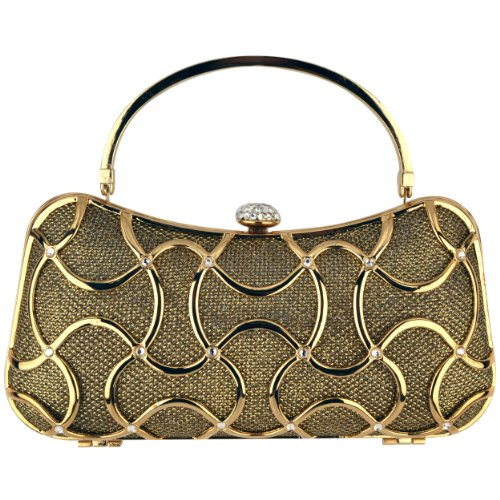 MG Collection® MARYA Gold-Tone Metallic Woven Rhinestone Minaudiere Evening Bag