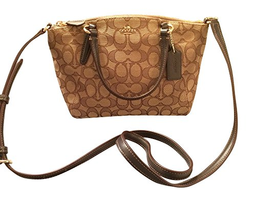 Coach Signature Mini Kelsey Satchel Crossbody Bag, Khaki, Brown