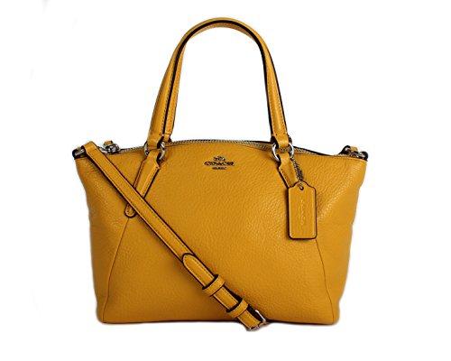 Coach Pebble Leather MINI Kelsey Satchel Crossbody Handbag, Banana