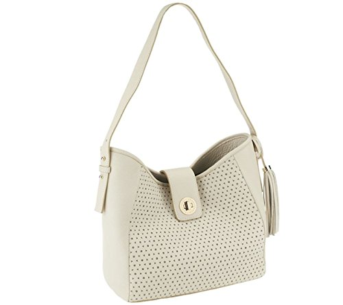 Isaac Mizrahi Bridgehampton Perforated Leather Hobo A251190, Bone