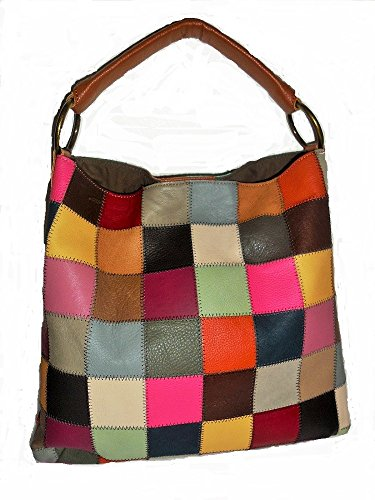 Kooba Genuine Leather Multicolor Patchwork Top Handle Handbag