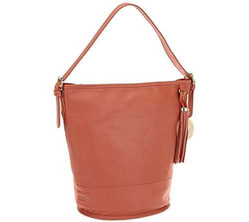 Isaac Mizrahi Bridgehampton Leather Bucket Hobo A262945, Coral