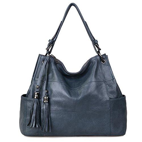 Jack&Chris Leather Hobo Purse Large Tote Shoulder Bag Tassel Satchel Handbags for Women, WB501J