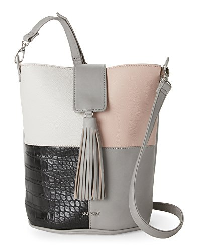 NINE WEST Mist & Light Dove Belynda Patchwork Bucket Bag