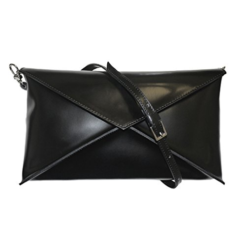 Vannini Designer Leather Envelope Shoulder Bag Clutch Handbag Evening Bag – Black