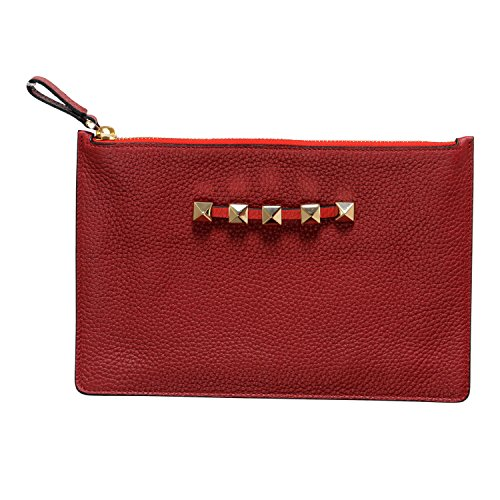 Valentino Garavani Women's Red 100% Leather Rockstud Small Clutch Bag