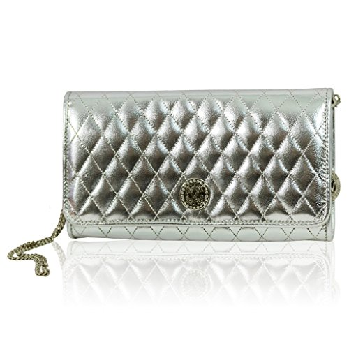 Valentino Orlandi Italian Designer Silver Quilted Leather Wallet Clutch w/Chain
