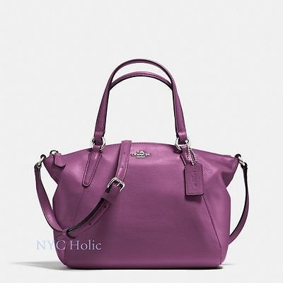 Coach Pebble Leather MINI Kelsey Satchel Crossbody Handbag, F57563 Mauve