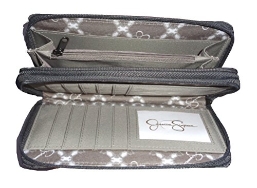 Jessica Simpson Women's Norah Double Zip Around Wallet, Size 8″x4″, Slate/Grey