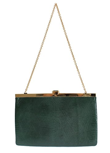 Green Lizard Skin Shoulder Crystal Clutch Purse