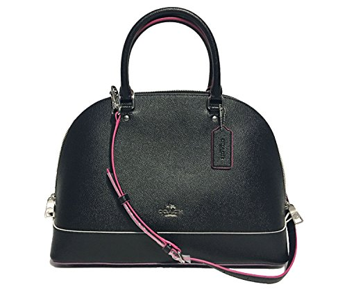 Coach Cross Grain Leather Sierra Satchel Crossbody Bag Purse Handbag (SV/Black Multi)
