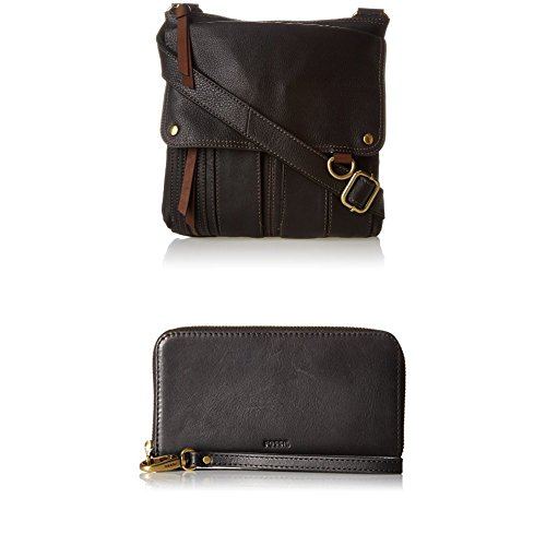 Fossil Morgan Crossbody with Emma Snartphone Wallet Rfid Phone Wristlet, Black