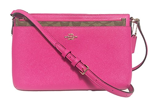 COACH Crossgrain Leather E/W Pop Crossbody (IM/Bright Fuchsia Saddle)