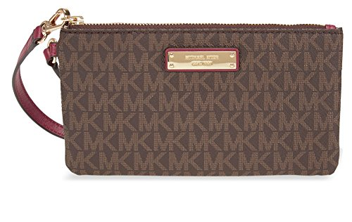 Michael Kors Medium Jet Set Wristlet- Brown and Mulberry