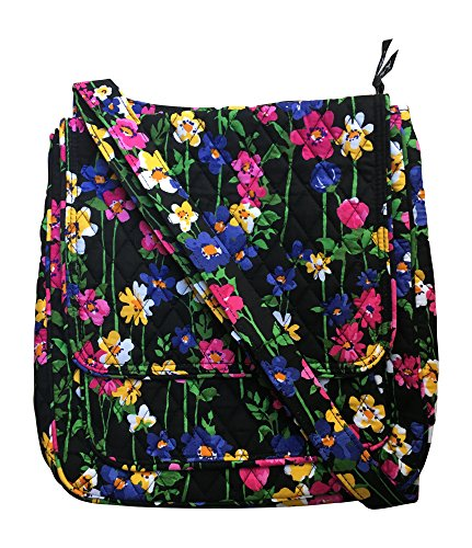 Vera Bradley Mailbag Crossbody Handbag in Wildflower Garden with Solid Black Lining