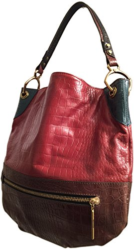 orYANY Syndey Croc Red Turquoise Top Handle Colorblock Hobo Tote