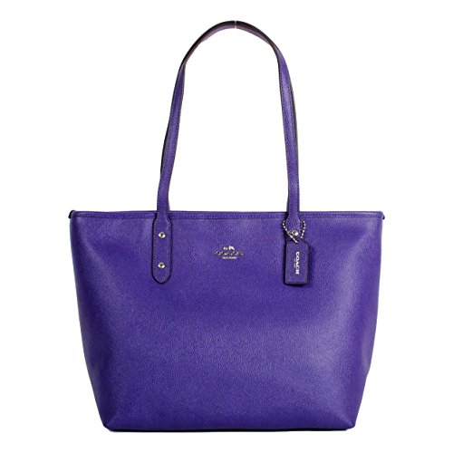 Coach Crossgrain Leather City Zip Tote Shoulder Bag, F58846 SV/Purple