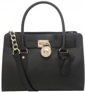 Michael Kors Medium Hamilton Leather Tote in Black