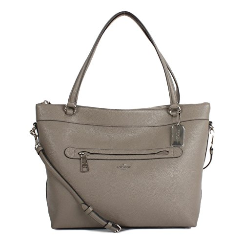 Coach Pebbled Leather Tyler Tote in Fog – #F54687