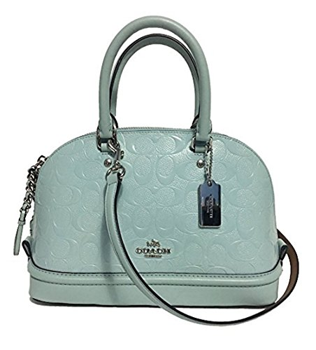 COACH MINI SIERRA SATCHEL IN CROSSGRAIN LEATHER F37217 (SV/Aqua)