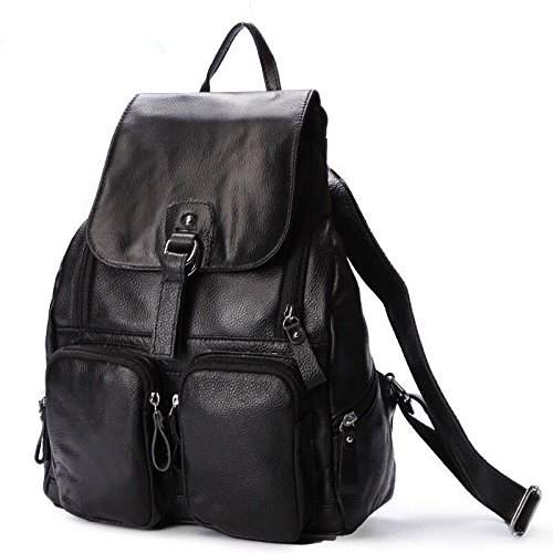 2018 Hot Sale ! Women-bag Genuine Leather bag Backpack Cow Leather shoulder bag Student's School bag Daily Backpack (Color Black)