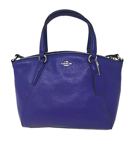 Coach Pebble Leather Mini Kelsey Satchel Crossbody Handbag SV/Purple