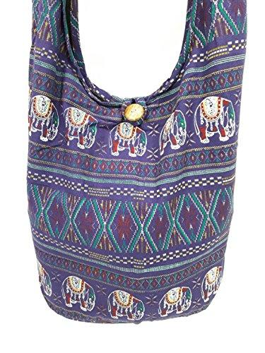 Kraft4Life Thai Cotton Hippie Hobo Sling Crossbody Tote Summer Bag Messenger Purse Ethnic Elephant Parade Christmas Gift