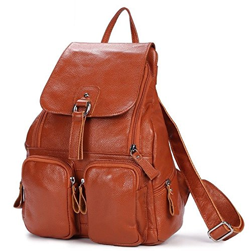 2018 Hot Sale ! Women-bag Genuine Leather bag Backpack Cow Leather shoulder bag Student's School bag Daily Backpack (Color Brown)