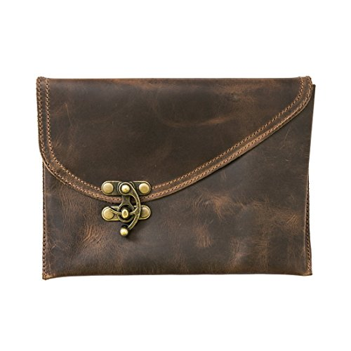 Vintage Leather Clutch Bag Handmade by Hide & Drink :: Bourbon Brown