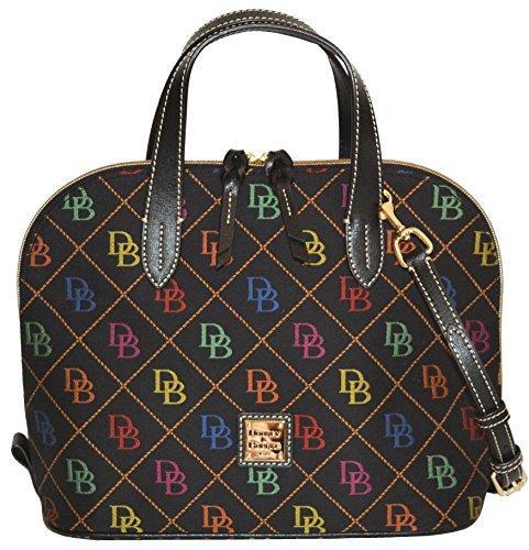 Dooney & Bourke Signature Zip Zip Satchel Crossbody Bag Purse Black
