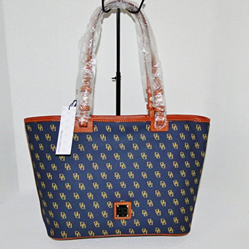 Dooney and Bourke NG352NV Gretta Signature Small Leisure Shopper – Navy with Tan trim