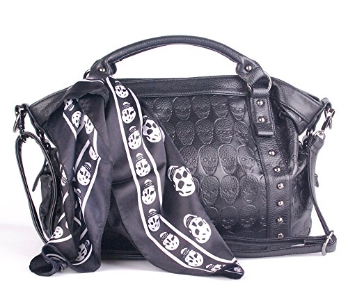 Leather Women Skull Black Ladies Satchel Big Handbags for Women Soft with Pockets and Tote Purses Clearance on Sale