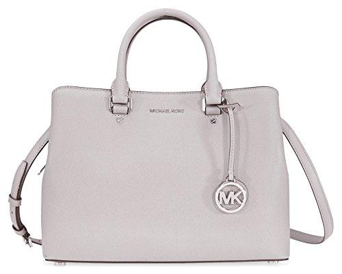 Michael Kors Savannah Medium Leather Satchel – Pearl Grey