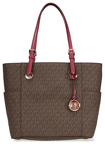 MICHAEL Michael Kors Jet Set Travel Small Logo Tote (Brown/Mulberry)