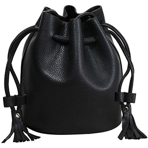 BMC Womens Midnight Black Textured Faux Leather Drawstring Style Cinch Sack Mini Fashion Handbag