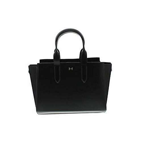 Halston Heritage East West Convertible Satchel Black Leather