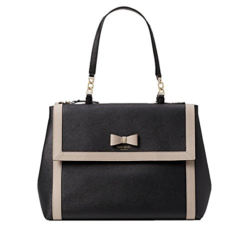Kate Spade Black/Mousse Frosting Leather Hazel Court Mason Satchel