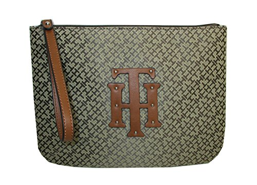 Tommy Hilfiger Logo Wristlet Bag Khaki Canvas
